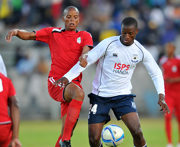 Judas Moseamedi of Black Aces challenged by Solomon Mathe of Platinum Stars during the 2015 Bokone Bophirima Maize Triangle Challenge Final match between Platinum Stars and Mpumalanga Black Aces at the Moruleng Stadium in Rustenburg, South Africa on July 11, 2015 ©Samuel Shivambu/BackpagePix