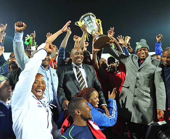 Platinum Stars winners of the 2015 Bokone Bophirima Maize Triangle Challenge at the Moruleng Stadium in Rustenburg, South Africa on July 11, 2015 ©Samuel Shivambu/BackpagePix