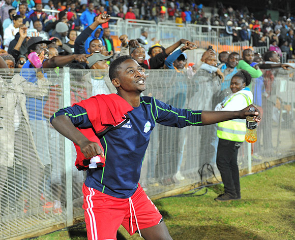 Masibusane Zungu of Platinum Stars celebrates a victory during the 2015 Bokone Bophirima Maize Triangle Challenge Final match between Platinum Stars and Mpumalanga Black Aces at the Moruleng Stadium in Rustenburg, South Africa on July 11, 2015 ©Samuel Shivambu/BackpagePix