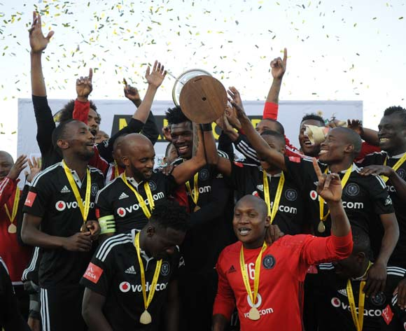Orlando Pirates celebrates during the 2016 Maize Cup match between Platinum Stars and Orlando Pirates  13 August 2016 at Moruleng Stadium Pic Sydney Mahlangu/ BackpagePix
