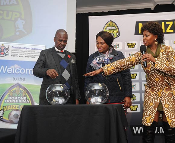 MEC of Sport in North West  Mr Sello Lehari and Executive Mayor, Cllr Maitu Kgaile help conduct a draw during the 2017 Maize Cup Launch on 27 June 2017 at Protea Hotel Klerksdorp   © Sydney Mahlangu /BackpagePix