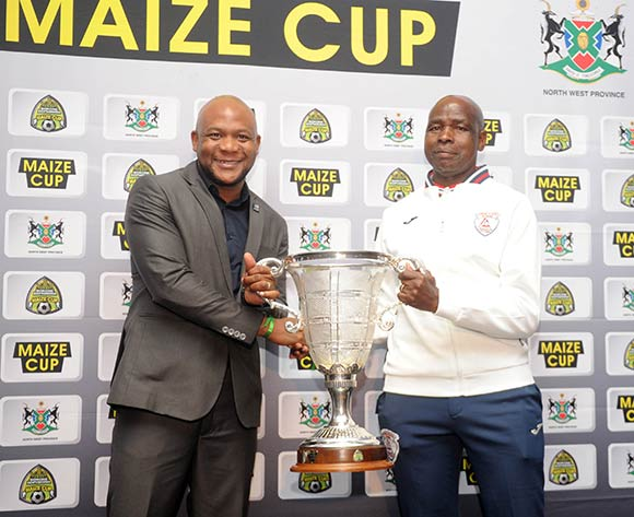 Teboho Mochadibane of Platinum Stars and David Vilakazi of Free State Stars  during the 2017 Maize Cup Launch on 27 June 2017 at Protea Hotel Klerksdorp   © Sydney Mahlangu /BackpagePix