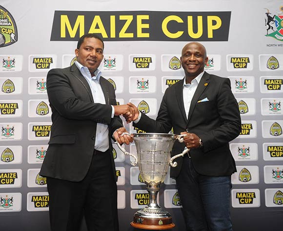 Bafana Pheto of Township Rollers and Vina Maphosa of Kaizer Chiefs during the 2017 Maize Cup Launch on 27 June 2017 at Protea Hotel Klerksdorp   © Sydney Mahlangu /BackpagePix