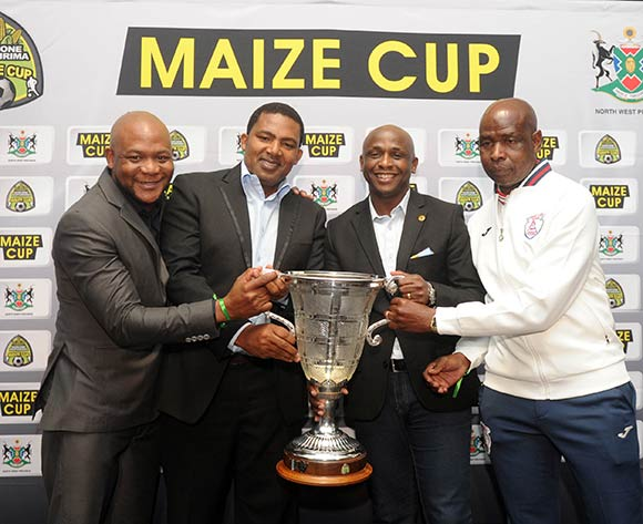 Teboho Mochadibane of Platinum Stars , Bafana Pheto of Township Rollers, Vina Maphosa of Kaizer Chiefs and David Vilakazi of Free State Stars  during the 2017 Maize Cup Launch