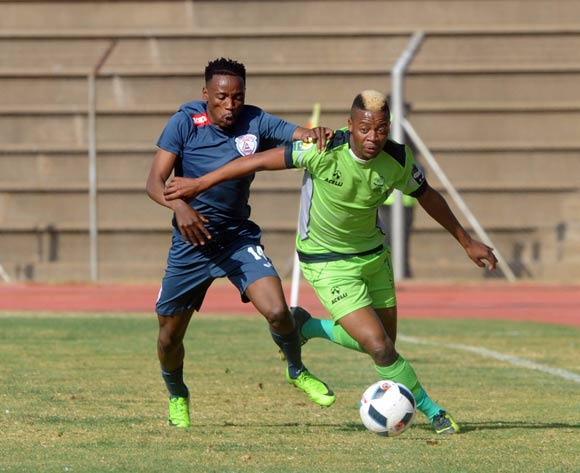 Pentjie Zulu of Platinum Stars challenges Sinethemba Jantjie if Free State Stars during the 2017 Maize Cup match between Platinum Stars and Free State Stars  on the 15 July 2017 at James Motlatsi Stadium, Orkney  © Sydney Mahlangu /BackpagePix