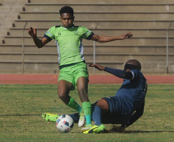 Gift Links of Platinum Stars is tackled by Paulus Masehe of Free State Stars during the 2017 Maize Cup match between Platinum Stars and Free State Stars  on the 15 July 2017 at James Motlatsi Stadium, Orkney  © Sydney Mahlangu /BackpagePix