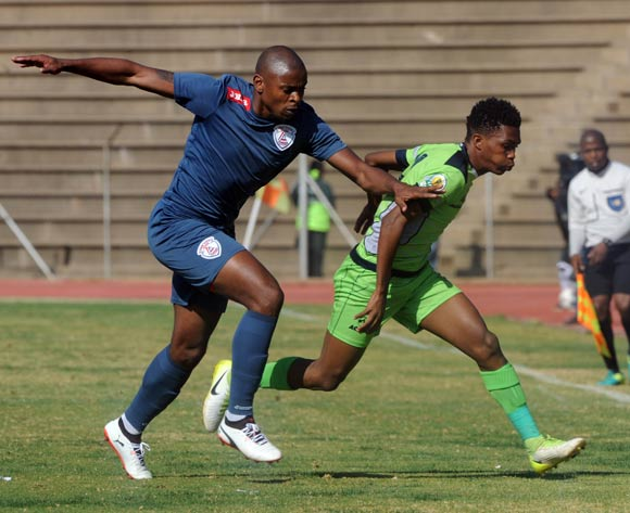 Gift Links of Platinum Stars is tackled by Tamsanqa Teyise of Free State Stars during the 2017 Maize Cup match between Platinum Stars and Free State Stars  on the 15 July 2017 at James Motlatsi Stadium, Orkney  © Sydney Mahlangu /BackpagePix