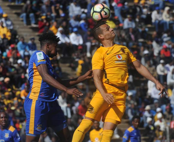 Gustavo Paez of Kaizer Chiefs is challenged by Kaone van der Westhuisen of Township Rollers during the 2017 Maize Cup match between Kaizer Chiefs and Township Rollers  on the 15 July 2017 at James Motlatsi Stadium, Orkney  © Sydney Mahlangu /BackpagePix