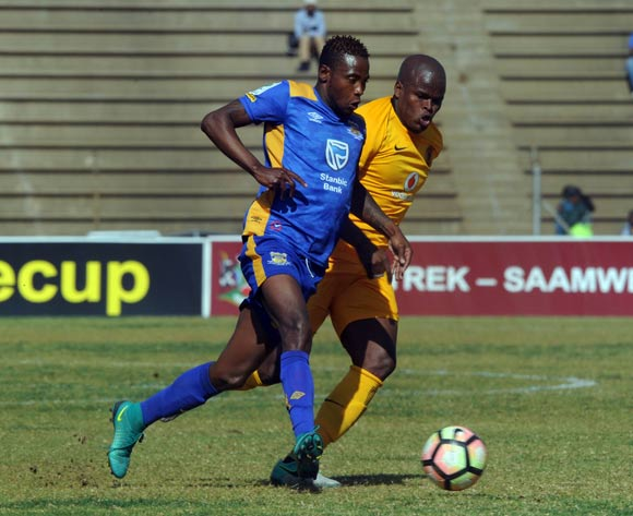 Willard Katsande of Kaizer Chiefs challenges Boy Segolame of Township Rollers during the 2017 Maize Cup match between Kaizer Chiefs and Township Rollers  on the 15 July 2017 at James Motlatsi Stadium, Orkney  © Sydney Mahlangu /BackpagePix