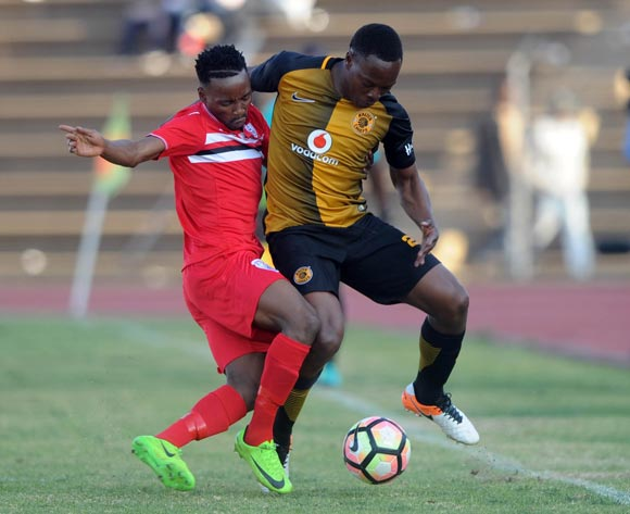 Philani Zulu of Kaizer Chiefs is challenged by Sinethemba Jantjie of Free State Stars  during the 2017 Maize Cup match between Free State Stars and Kaizer Chiefs   on the 15 July 2017 at James Motlatsi Stadium, Orkney  © Sydney Mahlangu /BackpagePix