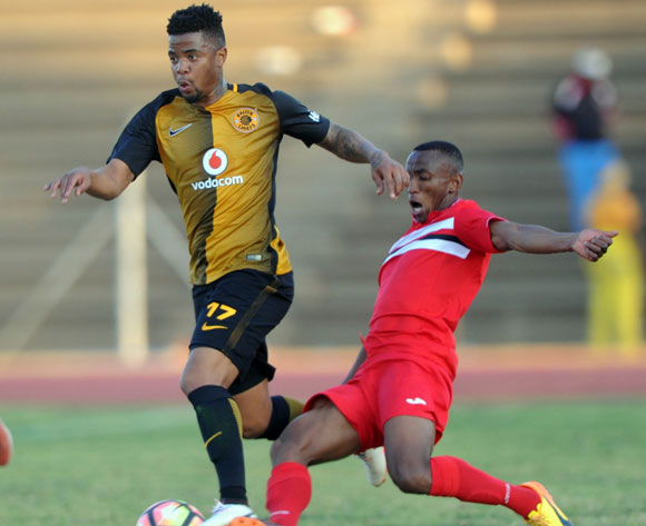 George Lebese of Kaizer Chiefs is challenged by Sifiso Mbhele of Free State Stars  during the 2017 Maize Cup match between Free State Stars and Kaizer Chiefs   on the 15 July 2017 at James Motlatsi Stadium, Orkney  © Sydney Mahlangu /BackpagePix