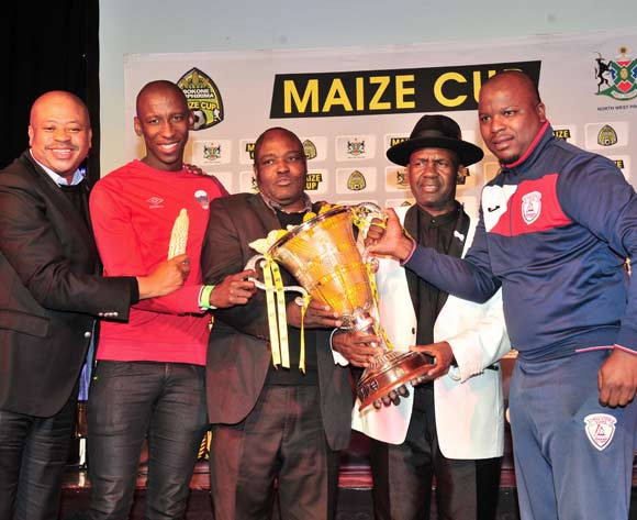 Bobby Motaung, Mark Mayambela and team representative pose with a trophy during the 2018 Maize Cup launch at Carousel Hammerskraal, Pretoria on 06 July 2018 ©Samuel Shivambu/BackpagePix
